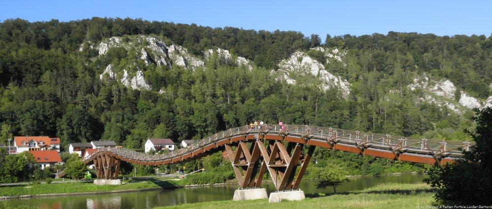 Ausflugsziele Altmühltal Sehenswürdigkeiten Kelheim, Holzbrücke Essing
